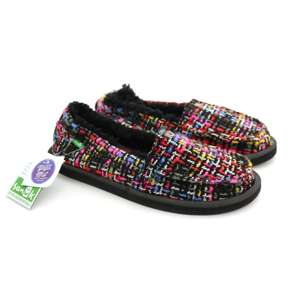 Sanuk Shoes - Sanuk Sidewalk Surfers ShorKnitty Black Pink Tweed
